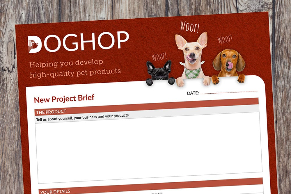 Pet Food Product Development Brief template